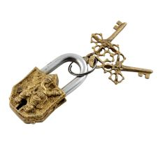 Brass Engraving Ganesha Idol Sculpture Pad Lock With Keys in Pair