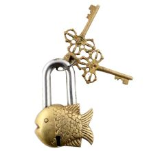 Brass Golden Fish Padlock Lock With Skeleton Keys