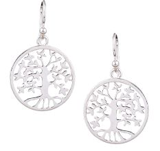 Circular Tree Of Life 92.5 Sterling Silver Earrings