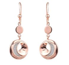 Crescent Moon 92.5 Sterling Silver Dangle Earrings In Pink Polish