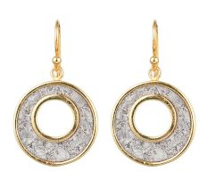 92.5 Sterling Silver Circle Earrings Pave Snakeskin Drop Earrings