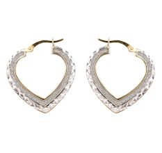 92.5 Sterling Silver Open Heart Hoop Earrings
