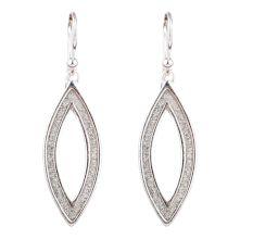 Shimmery Oval  Drop 92.5 Sterling Silver Dangle Earrings