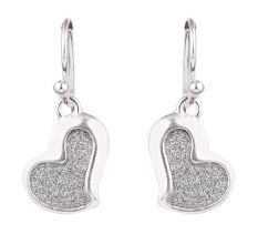 Shimmery Heart Shape Pendant 92.5 Sterling Single Earrings