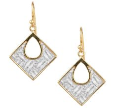 92.5 Sterling silver Earrings Pave Snakeskin Square Pendant