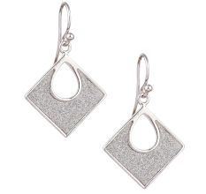 92.5 Sterling silver Dangle Earrings Shimmery Square Pendant