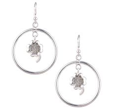 Circular 92.5 Sterling Silver Earrings with Small Shimmery Flower Hanging