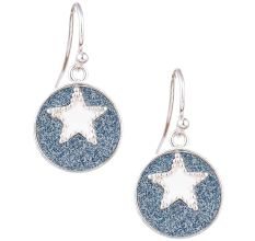 92.5 Sterling Silver Star Blue Circle Drop Earrings