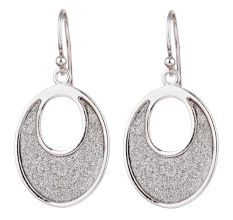 Shimmery Round Discs With 92.5 sterling silver Border Drop Earrings