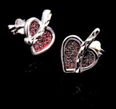 Pink Sparkle Heart Charm 92.5 Sterling Silver Stud Earrings