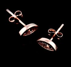 92.5 Sterling Silver Oval Crystal Stud Earrings Rose gold Finish