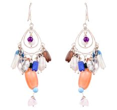 Colorful Stone 92. 5Sterling Stone Earrings Cascade Hippie Earrings
