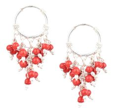 92.5 Sterling Silver  Earrings Colorful Stone Dangle Jhumka Earrings