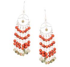 Round Orange Beads 92.5 Sterling Silver Fashion Chandelier Earrings