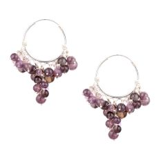 92.5 Sterling Silver Dangle Earrings Grape Bunch Purple Stone Beads