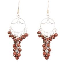 92.5 Sterling Silver Rust Grape Bunch Hanging Earrings
