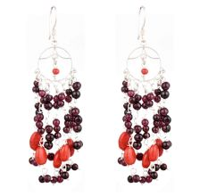92.5 Sterling Silver Earrings Purple Orange Bead Chandelier Earrings