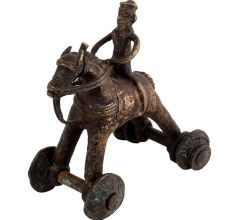 Brass Horse on Wheel Temple Toy Collectable Gift
