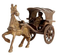 Brass Single Horse Chariot And Wheels For Home Decoration