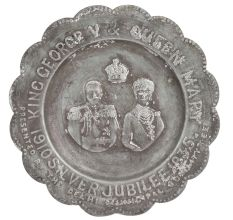 Hand Carved Brass King George And Queen Mary Silver Jewelry Plate