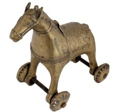 Brass Horse Temple Toy On Wheels