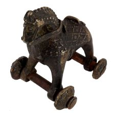 Engraved Brass Horse Figurine Temple Toy