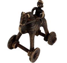 Handmade Brass Rider On Horse Hindu Temple Toy On Wheels