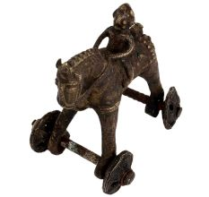 Indian Brass Horse Temple Toy On Wheels