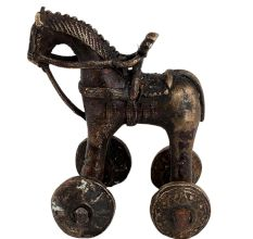 Indian Brass Temple Toy Soldier Rider Horse On Wheels