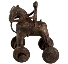 Brass Primitive Temple Toy Of Rider On Big Wheels