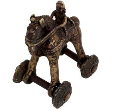 Brass Temple Toy Rider On Horse Collectable Toy