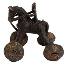 Brass Horse Temple Toy With Rider On Wheels