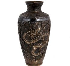 Brass Chinese Vase With Hand-Carved Dragon Pattern