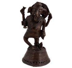Brass Tribal Lord Ganesha Dancing Statue