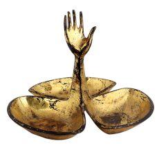 Brass Hand Triple Serving Bowl Set