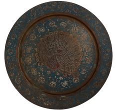 Brass Blue Painted Peacock Enameled Wall Plate