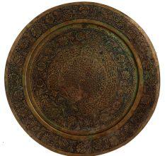 Golden Brass Peacock Enameled Wall Plate