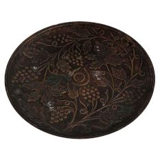 Round Brass Grape Brunch And Leaves Carved Plate Wall Hanging