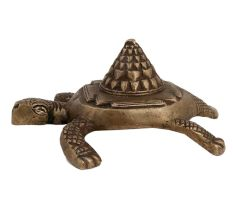 Brass Shree Mantra on Tortoise Back Good Luck Statue