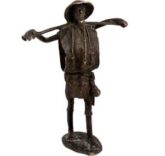 Brass Fisherman African man figural�Or Statue