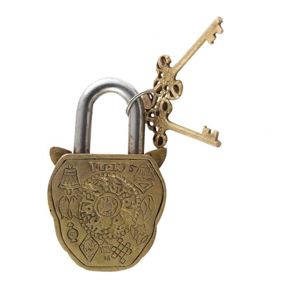 Brass Lion Shape Lock with Keys