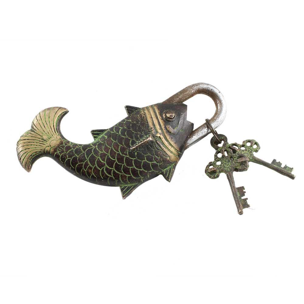 Brass Whale Fish Padlock Lock with Skeleton Key In Pair Patina Finish