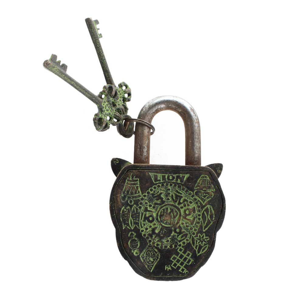 Brass Lion Shape Lock with Keys In Patina Finish