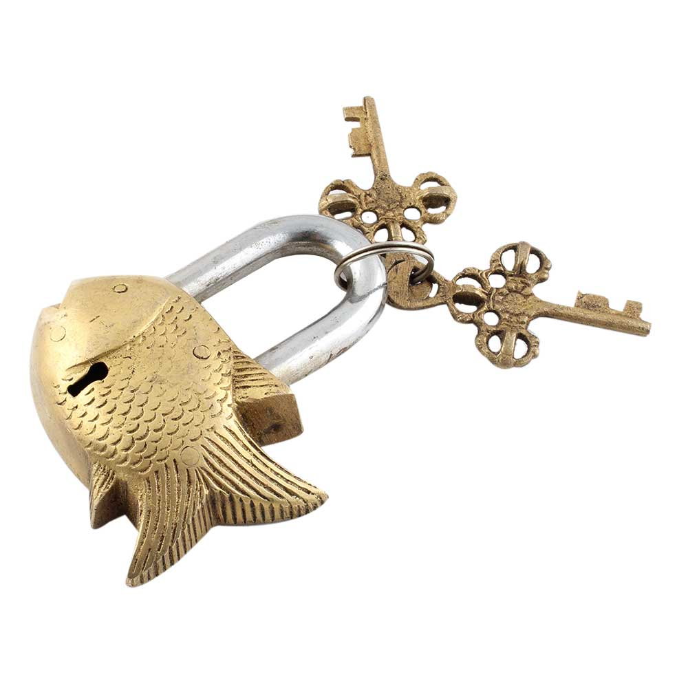 Golden Fish Lock With Skeleton Key In Pair