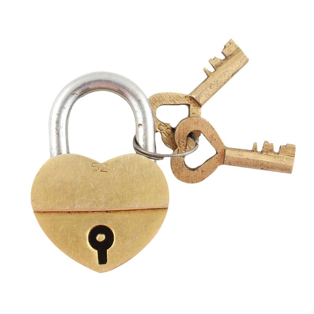 Brass Heart Shaped Lock With Keys In Pair