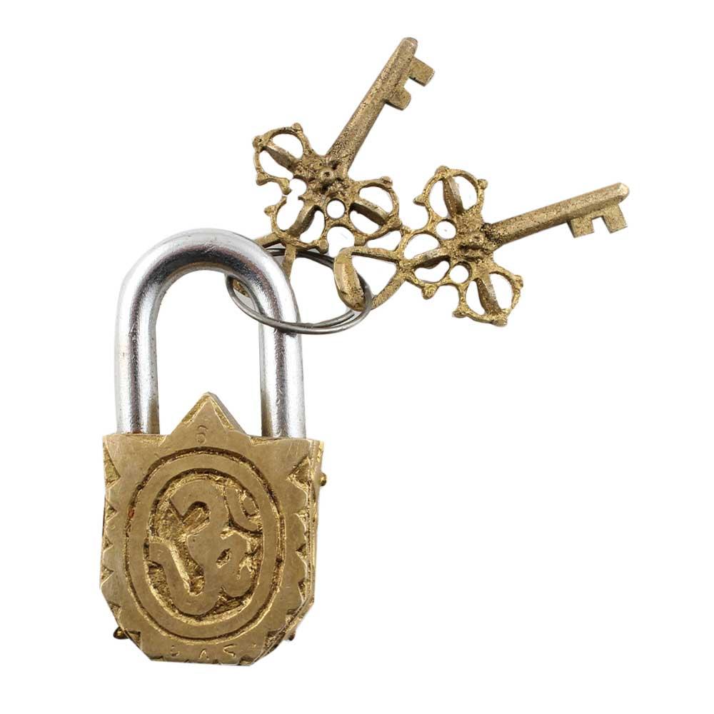 Brass Engraving Ganesha Idol Sculpture Pad Lock With Keys in Pair