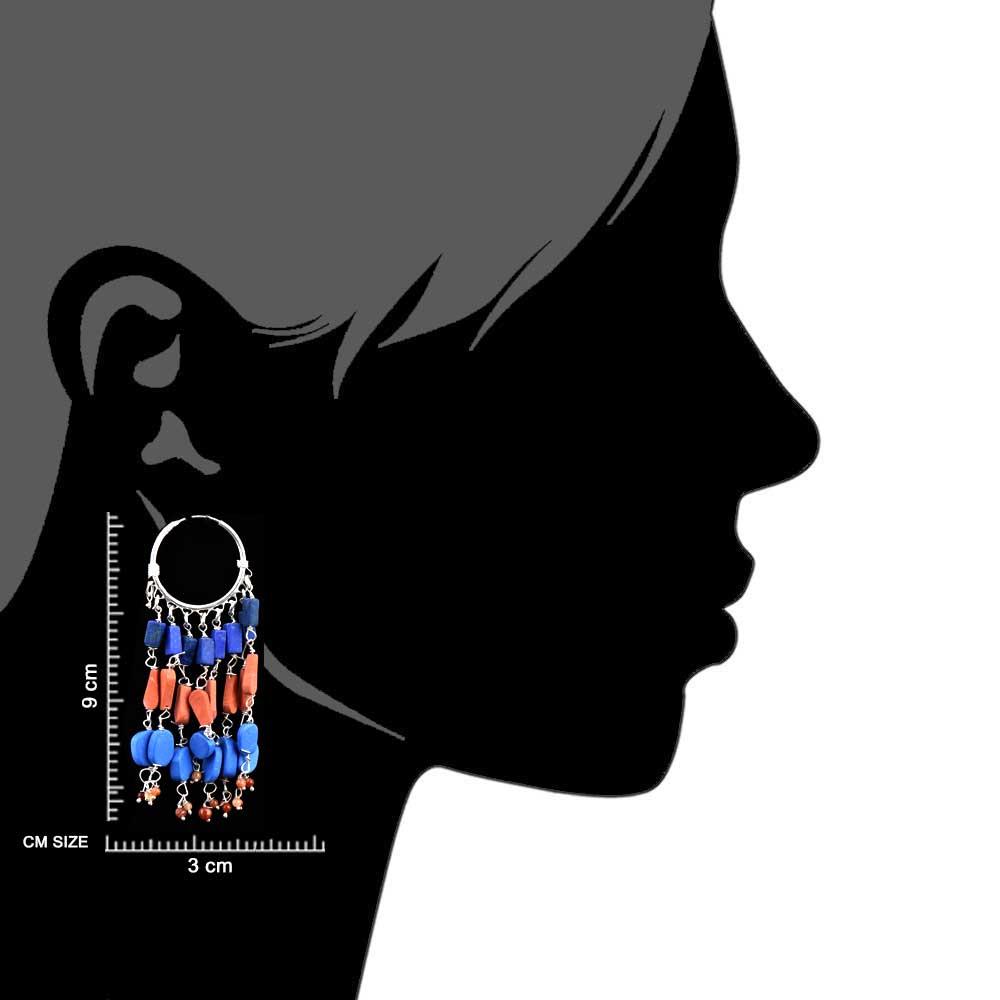 Multicolored Stone Gypsy 92.5 Sterling Silver Hoop Earring