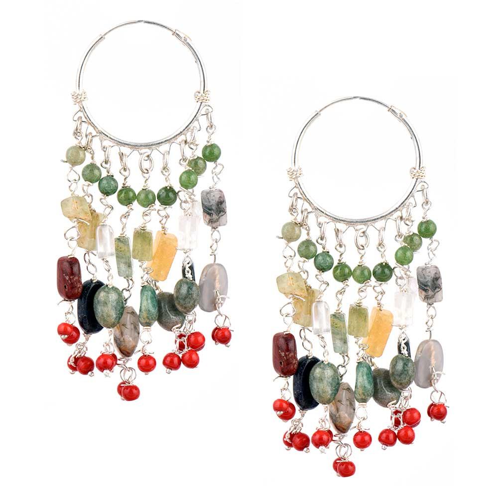 Handmade Silver 92.5 Sterling Stone Dangle Hoop Earrings