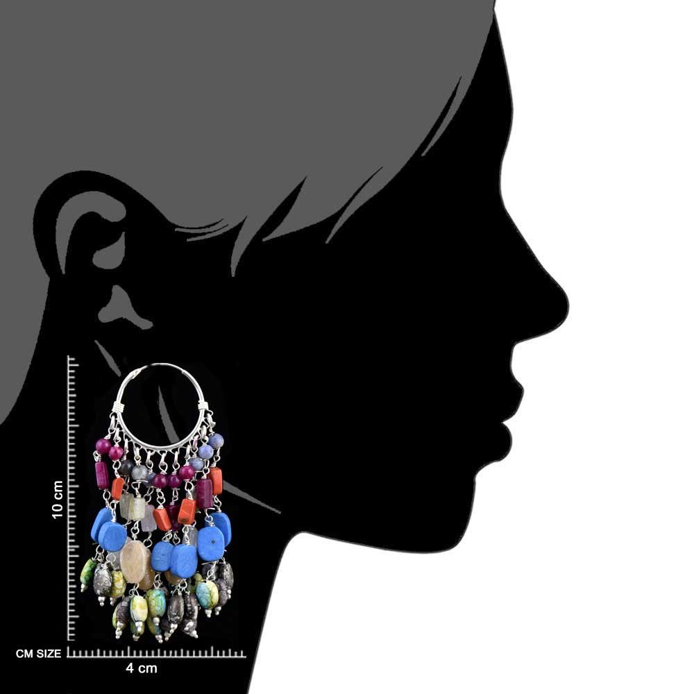 Colorful Stone 92.5 Sterling Silver Bali Hoop Chandelier Earring