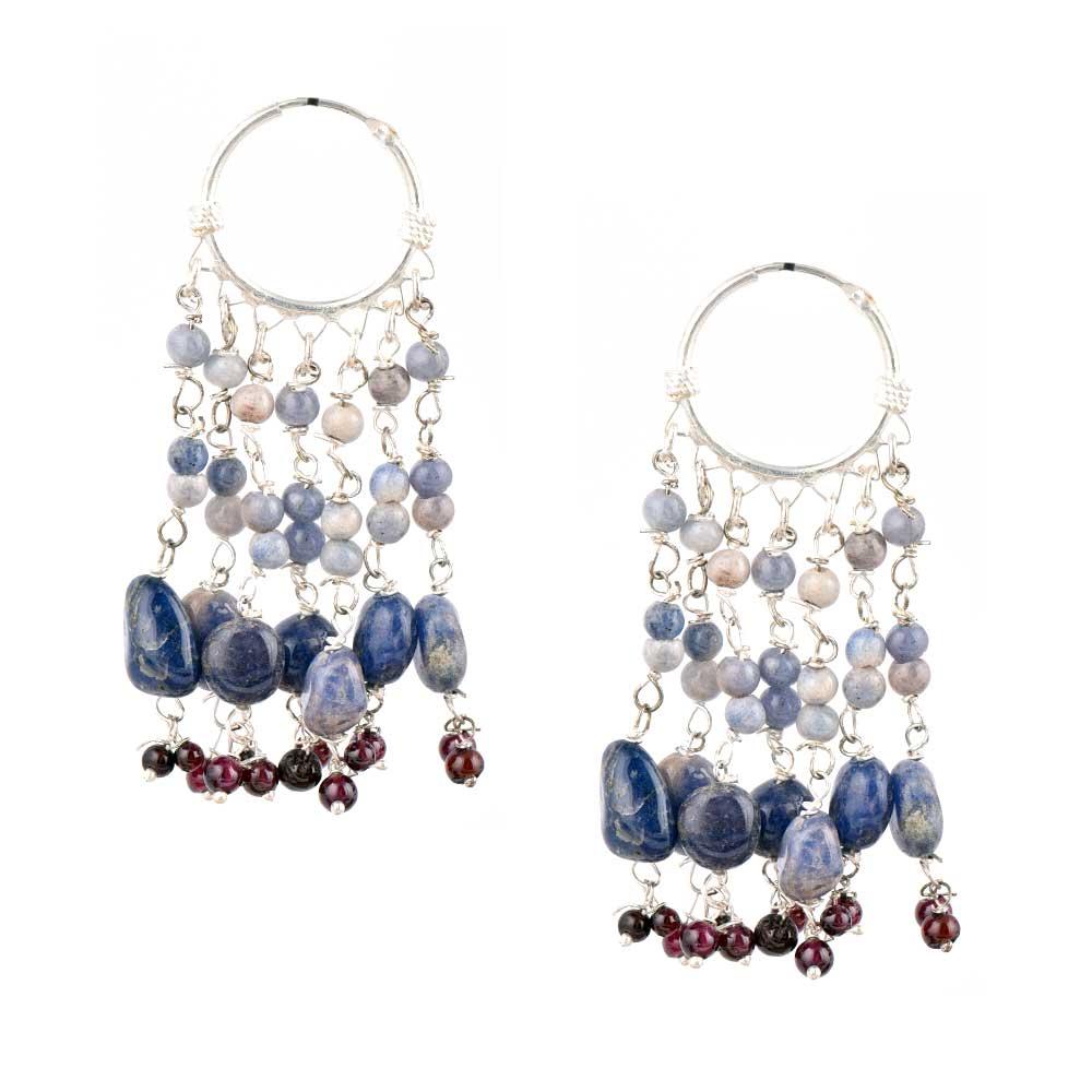Blue Stone 92.5 Silver Sterling Boho Hoop Chandelier Earrings